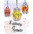 hand drawn ramadan kareem lettering and lamps vector image