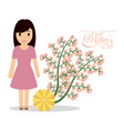 happy mothers day cute mom flower festive vector image vector image