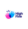 high five hand gesture overlay overlapping color vector image