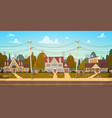 houses in suburb of big city in summer cottage vector image