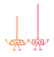 kawaii cartoon broom and dustpan holding hands in vector image vector image