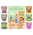 lesson in school classmates and teacher bags set vector image vector image
