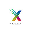 letter x design with rainbow shattered blocks vector image vector image