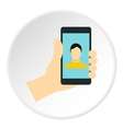 Man making selfie icon flat style vector image