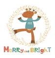 Merry and bright card with cute deer boy vector image vector image