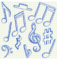 Musical notes doodles vector image
