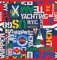 nautical style yacht sailing elements wallpaper vector image vector image