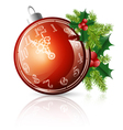 new year red ball with clock vector image vector image