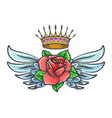 old school tattoo with winged rose flower and vector image vector image