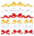 ornament bow collection set ribbon color gold vector image vector image