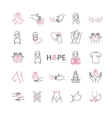 Outline web icons set - breast cancer pink ribbon vector image
