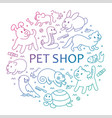 pet shop in circle template vector image vector image