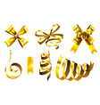 realistic gold bows decorative golden favor vector image vector image