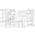 room with bookshelves sofa vector image