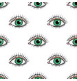 seamless pattern with doodle green eye vector image