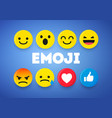 set cute smiley emoticons emoji 3d design vector image vector image