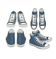 set of isolated cartoon blue sneakers vector image vector image