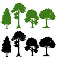 set of silhouette tree vector image vector image