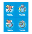 set of travel cards vector image vector image