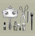 set retro cosmetic tools vector image vector image