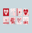 set romantic love layouts with red hearts vector image vector image
