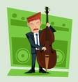 Smooth and elegant jazz contra bass player vector image