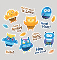 stickers designs with blue and orange owls and vector image vector image