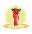 Strawberries splashing refreshment drink cartoon