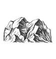 summit of mountain landscape monochrome vector image