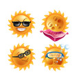 sun smiles cartoon emoticons and summer emoji vector image vector image