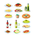 traditional italian food set oysters with sauce vector image vector image