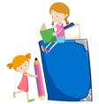 Two girls reading books vector image