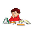 unhappy boy with books on desk vector image vector image