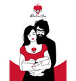 valentines day couple reading hugged girl with vector image
