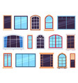 window frames exterior view various wooden and vector image