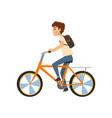 young man with backpack riding bicycle sport and vector image vector image