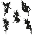 5 Fairy Silhouettes vector image
