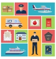 Post Office Flat Icons vector image