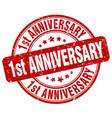 1st anniversary red grunge stamp vector image