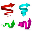 3D Spiral and Twisted Arrows Set vector image vector image