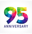 95 anniversary color logo vector image vector image