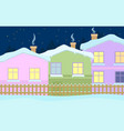 a quiet winter evening in the village vector image vector image