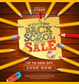 back to school sale design with graphite pencil vector image vector image