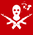 Balaclava and two crossed AK-47 terrorists mask vector image vector image