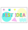 best idea banner with geometric figures and lines vector image vector image