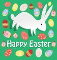 bright Easter card with rabbit on a green vector image vector image