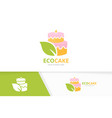 cake and leaf logo combination pie and eco vector image vector image