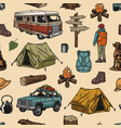 camping colorful vintage seamless pattern vector image vector image