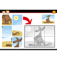 cartoon kangaroo jigsaw puzzle game vector image