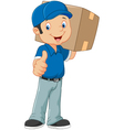 Cartoon postman gives thumb up vector image vector image